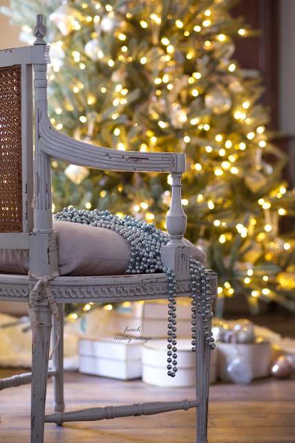 chair with bead garlands