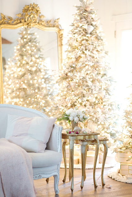 trees decorated with french country christmas theme