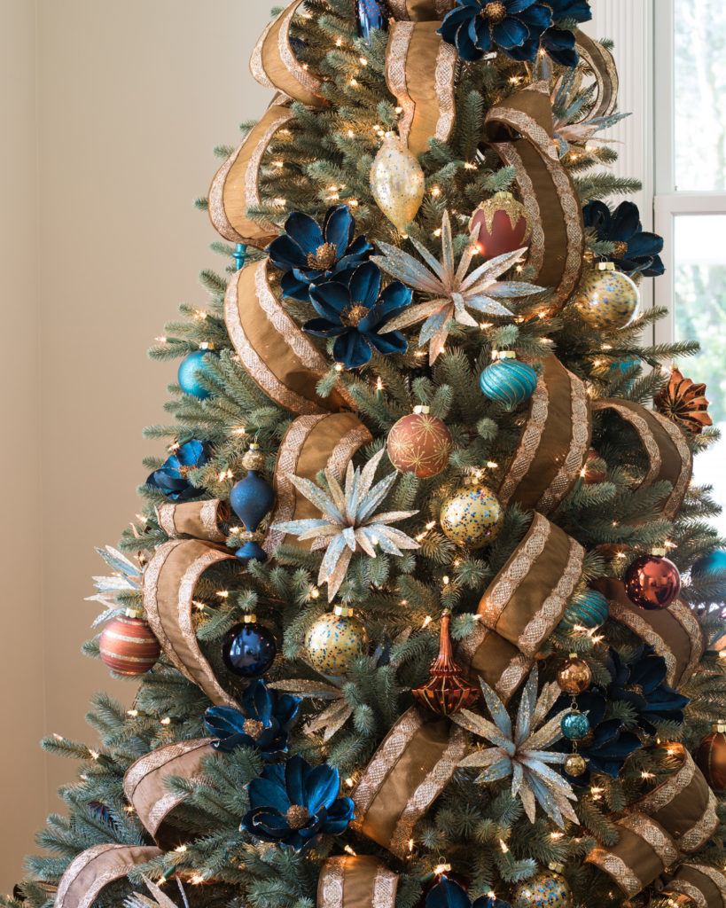 artificial tree with blue and brown color palette