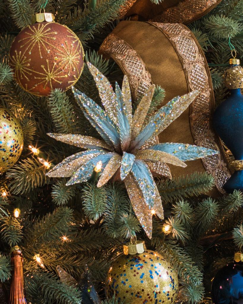 floral pick, ornament balls, ribbons on tree