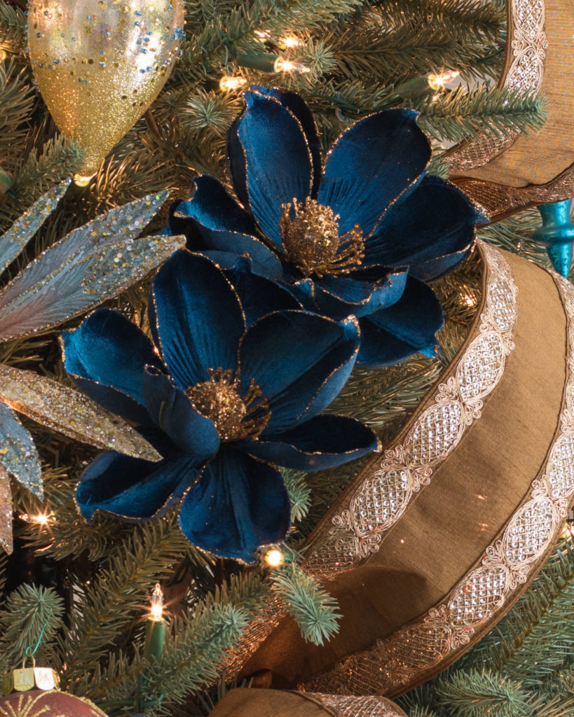 floral tree pick, ribbon, and ornament