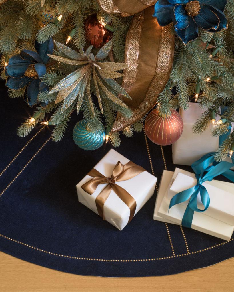 christmas ball ornaments, floral picks, and ribbon