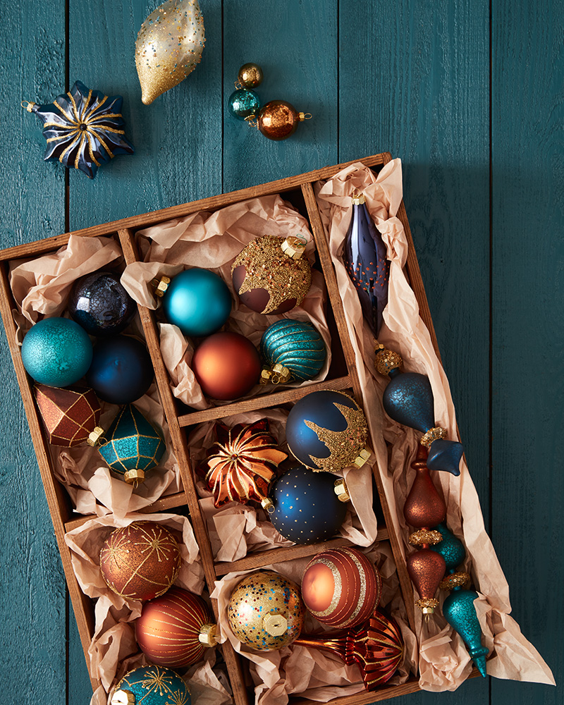 assorted christmas ornaments in box