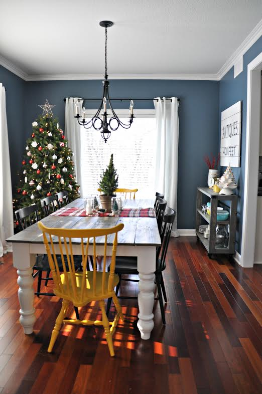 dining room with christmas tree in a corner