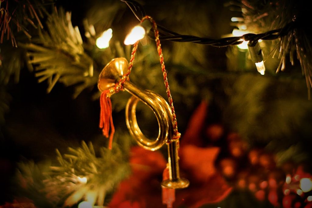 close up of musical instrument tree ornament