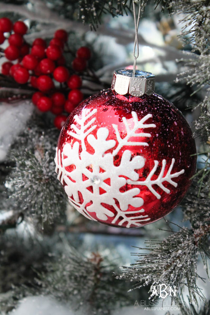 Close up of red Christmas tree ornament