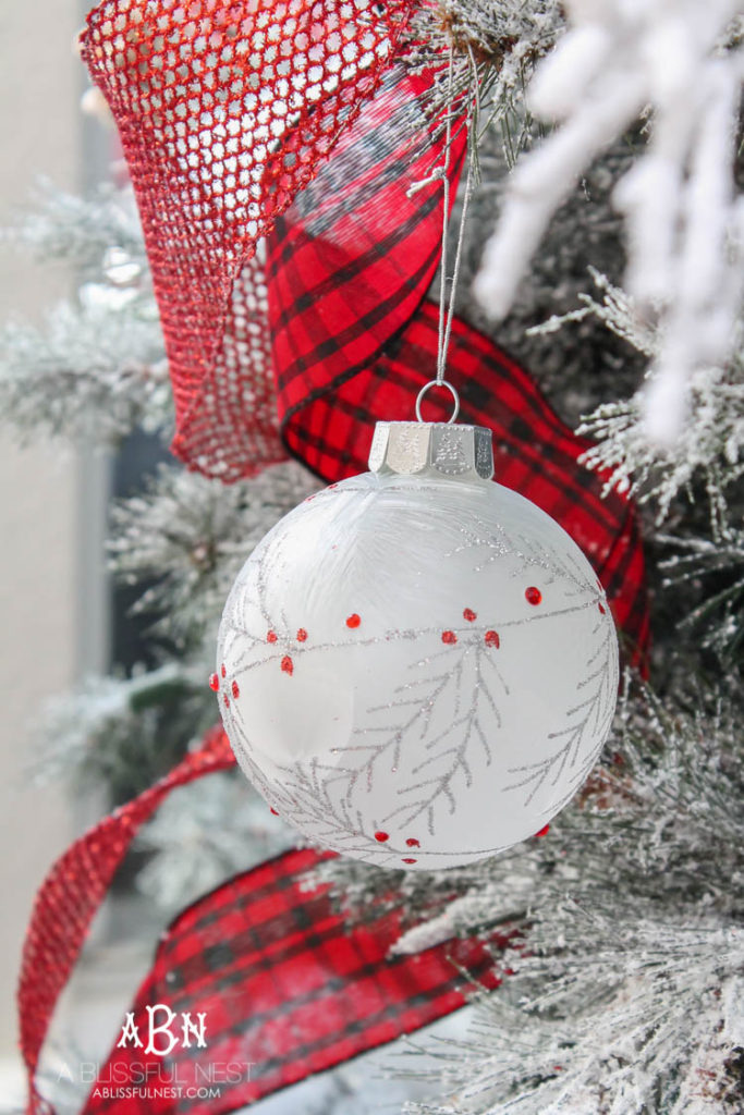 Close up of white Christmas tree ornament