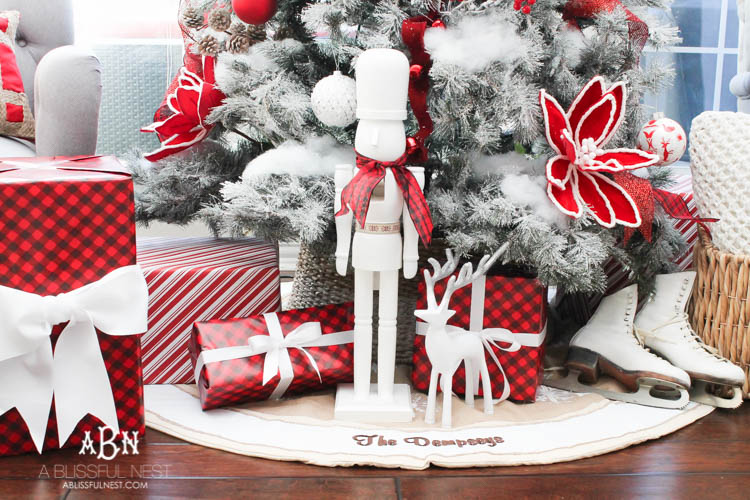 Wrapped gifts and nutcracker decoration