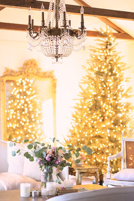 pre-lit christmas tree with french country decor theme