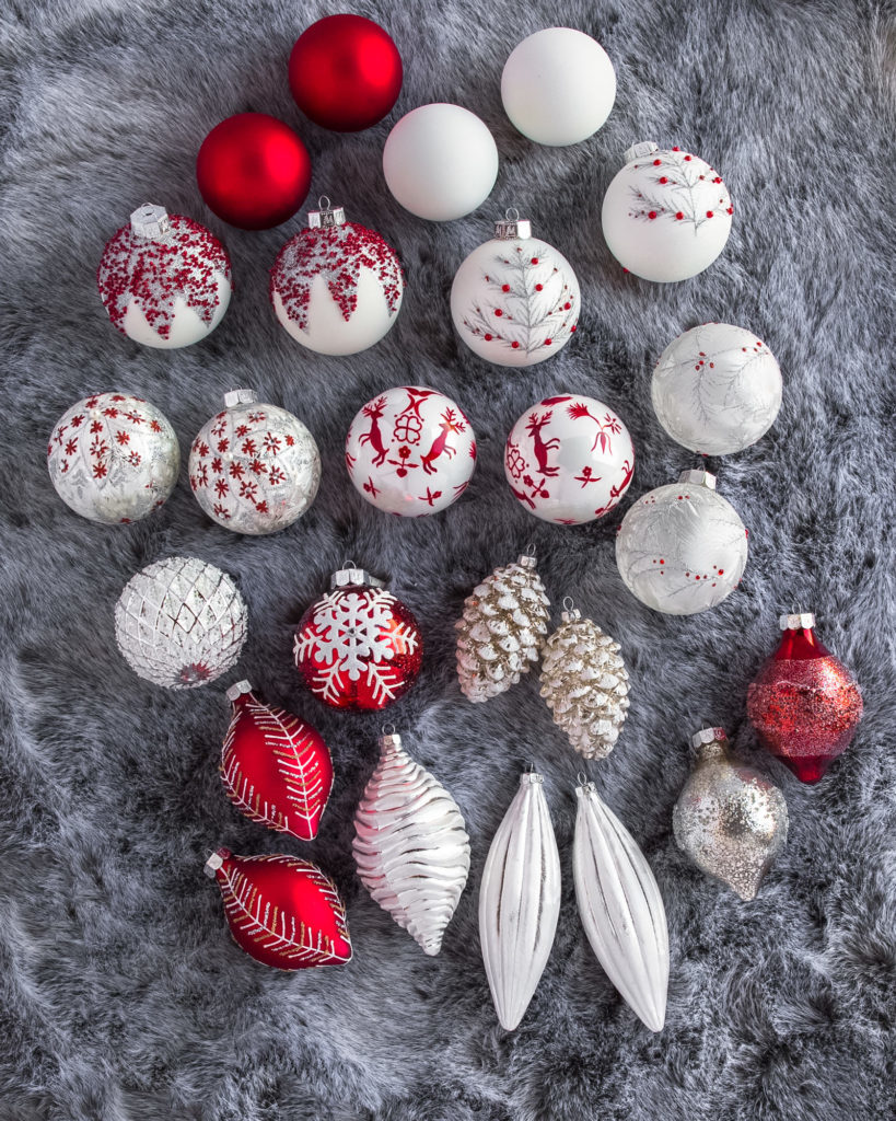 balsam hill red and white ornaments