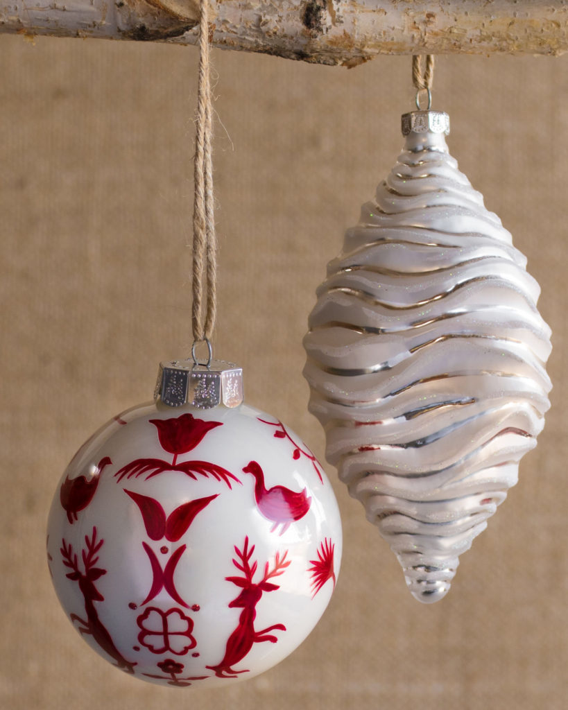 close up of winter inspired ornaments