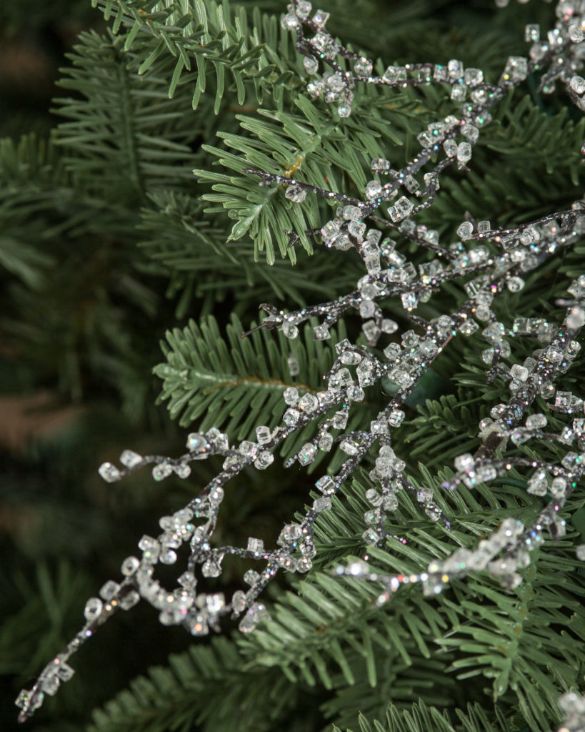 close up of iced glitter twigs