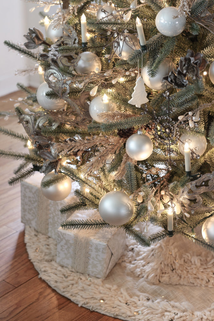 christmas tree ornaments in pewter and pearl hues