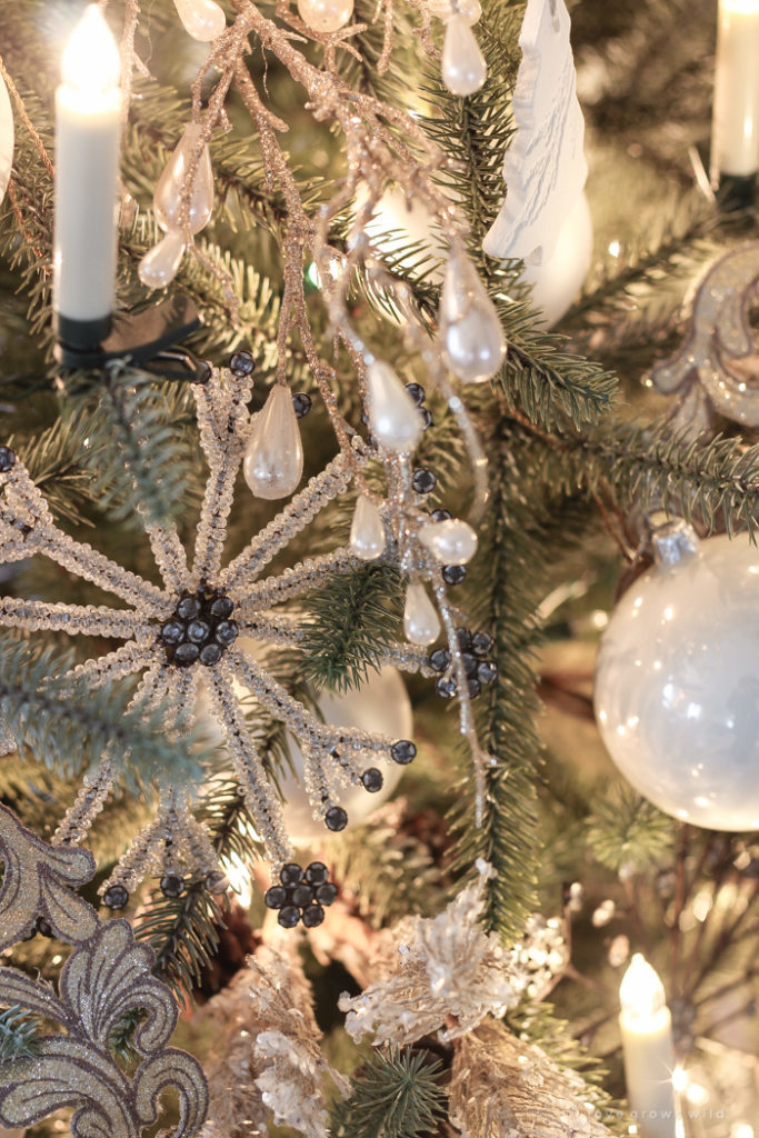 close up of winter christmas tree ornaments