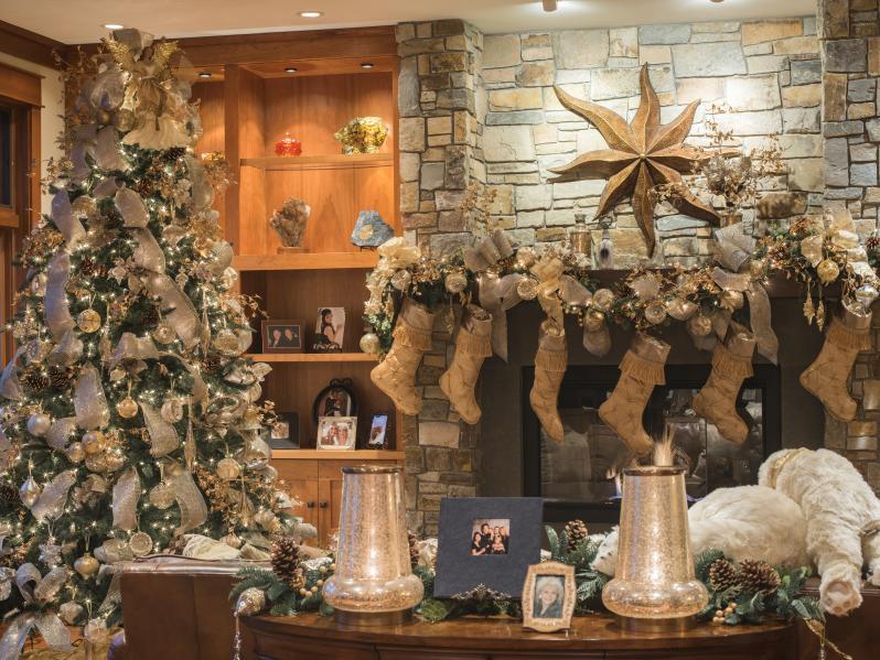 christmas tree and mantel set up