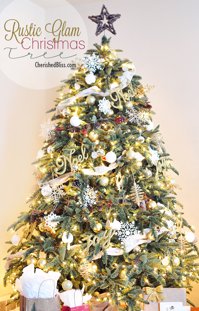 Balsam Hill Shasta Fir decorated with white, gold, and rustic theme