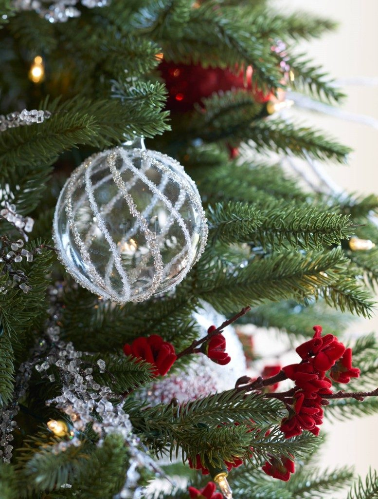 close-up of Christmas tree ornaments
