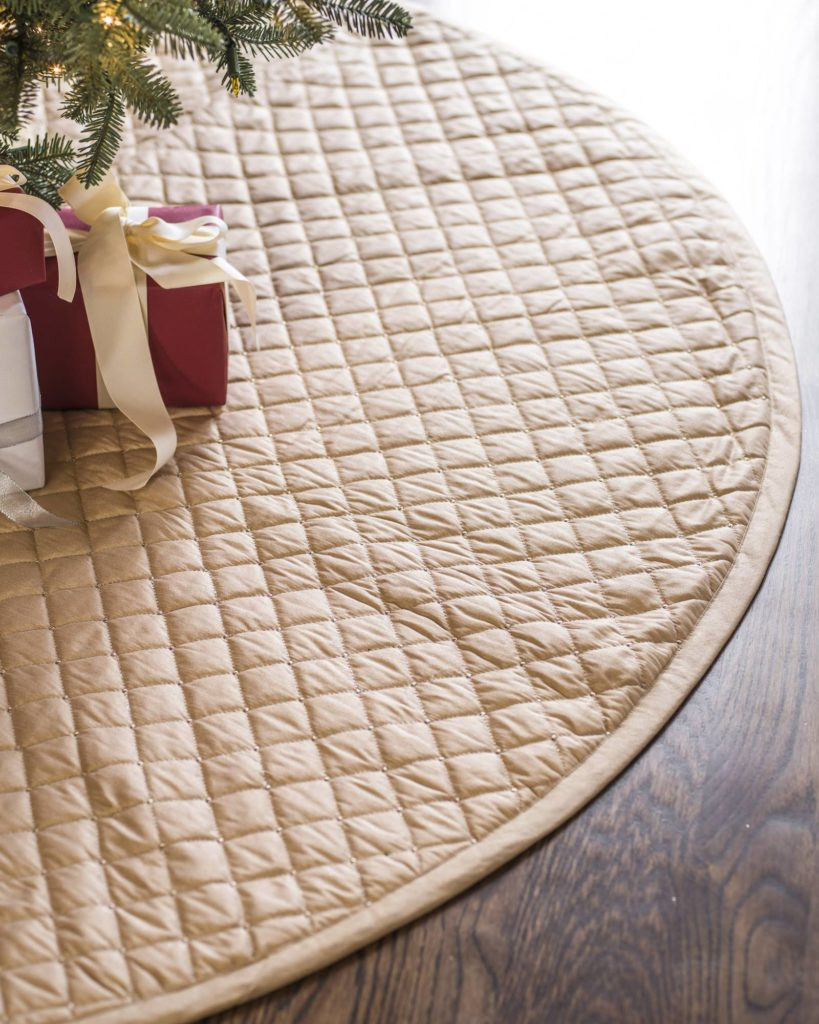 Balsam Hill Gold Regency Dupioni Quilted Christmas Tree Skirt