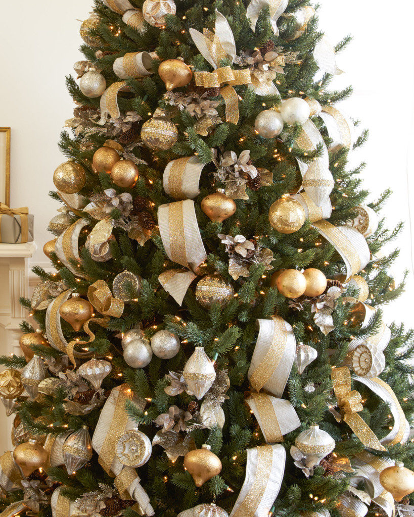 Vermont White Spruce decorated with silver and gold ornaments