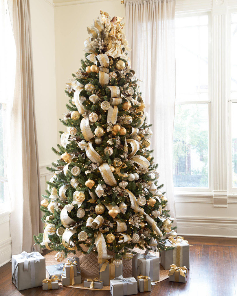 artificial Vermont White Spruce decorated with silver and gold ornaments