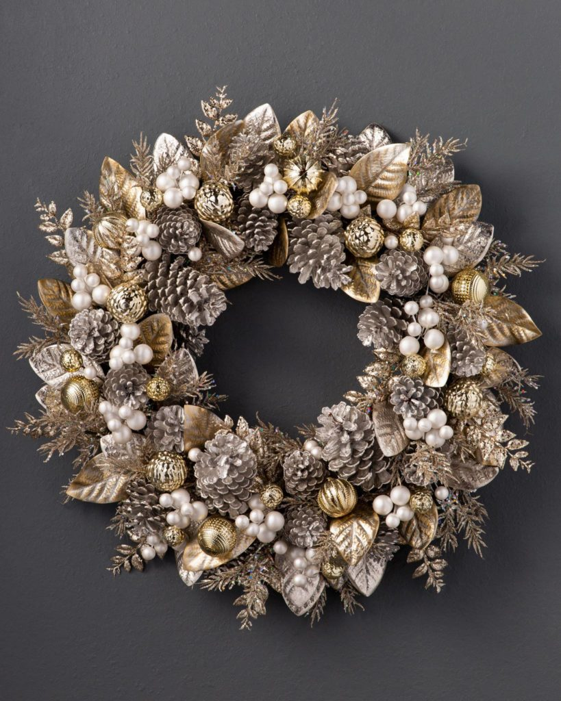 Balsam Hill Gilded Glamour Wreath on gray background
