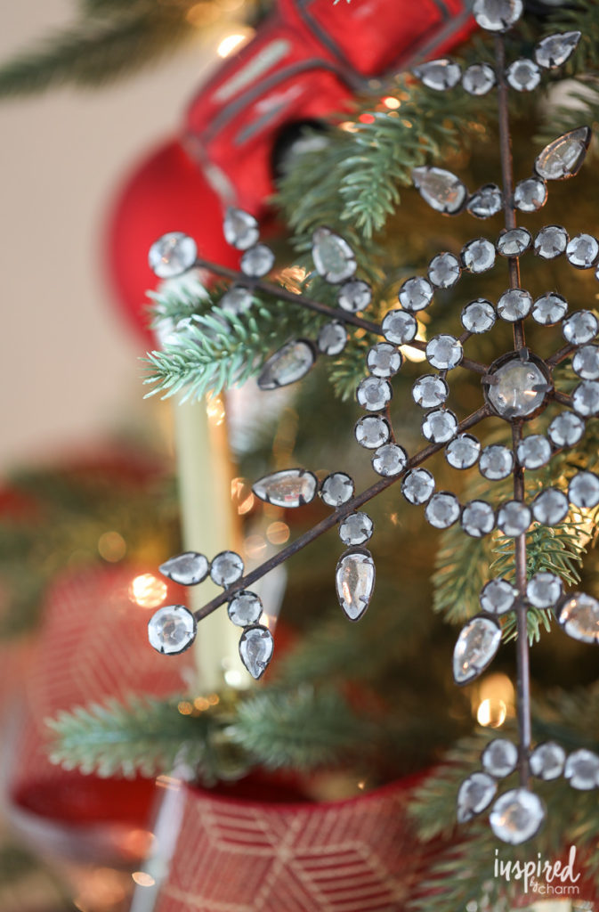 Close up of snowflake Christmas tree ornament