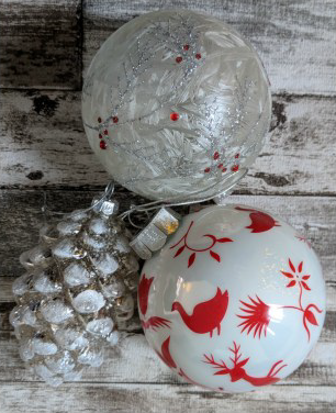 White and red Christmas ornaments