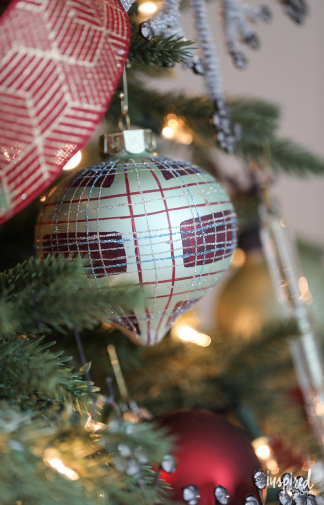 Close up of Balsam Hill Christmas ball ornament
