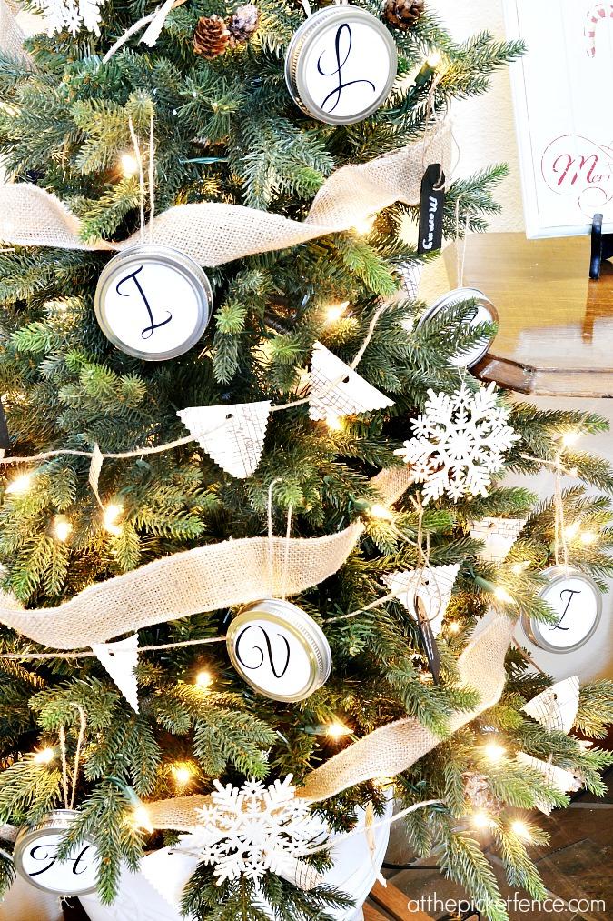 handmade mason jar monogram ornaments, snowflakes, and garland
