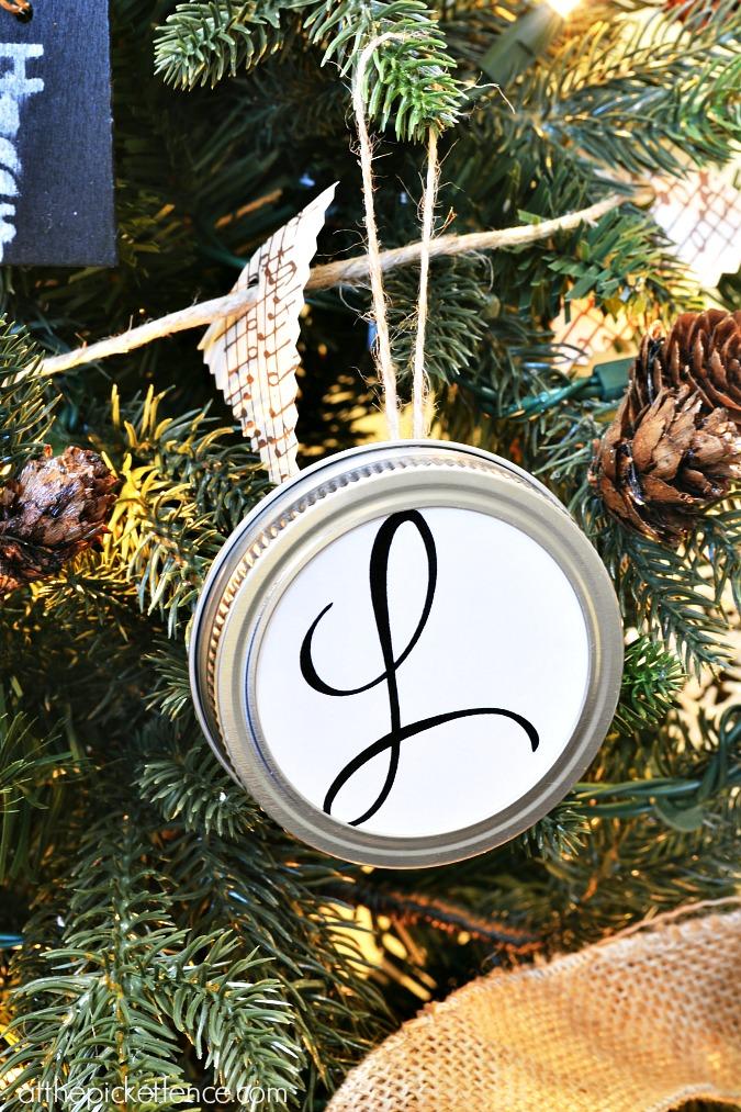 diy monogram tree ornament