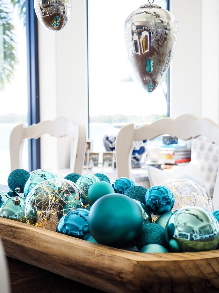 christmas ball ornaments in blue hues