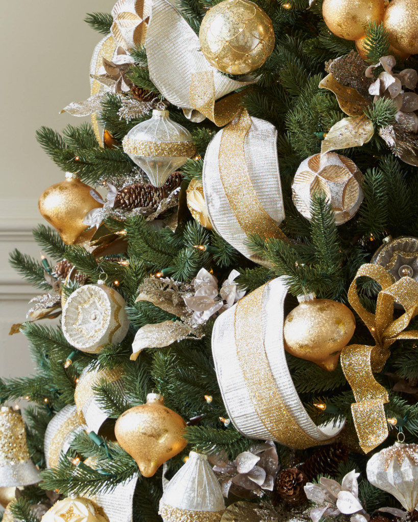 Vermont White Spruce tree decorated with silver and gold ornaments