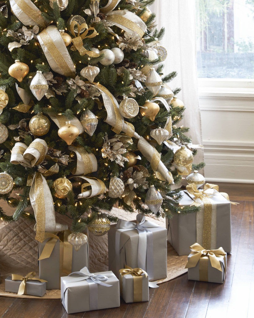 Vermont White Spruce Christmas tree decorated with silver and gold ornaments