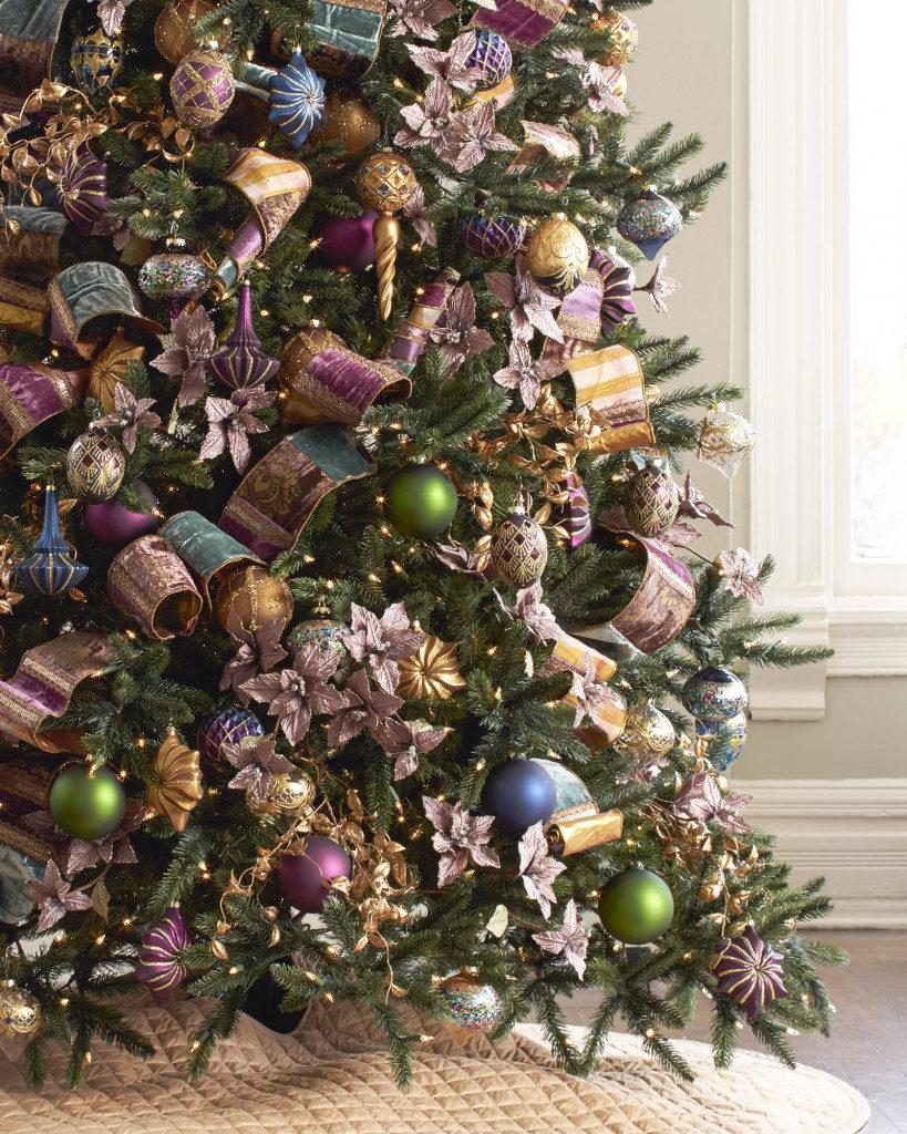 jewel-toned ornaments, picks and ribbon on tree