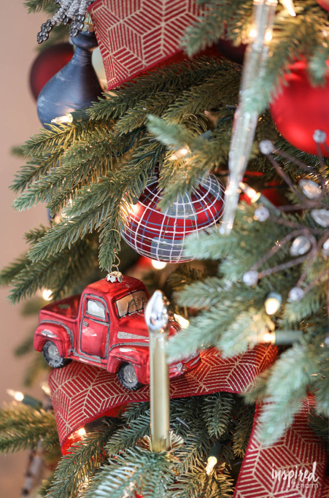 Close up of Balsam Hill Christmas tree ornaments