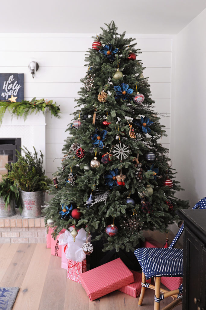 Christmas tree decorated with vintage-inspired ornaments
