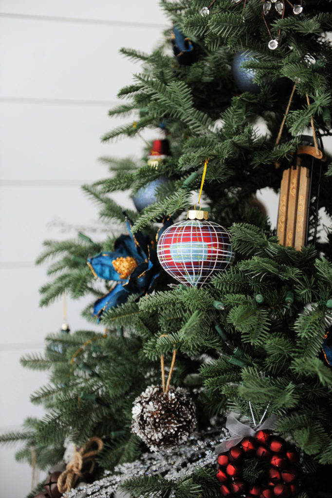 Close-up of vintage-inspired ornaments on Christmas tree