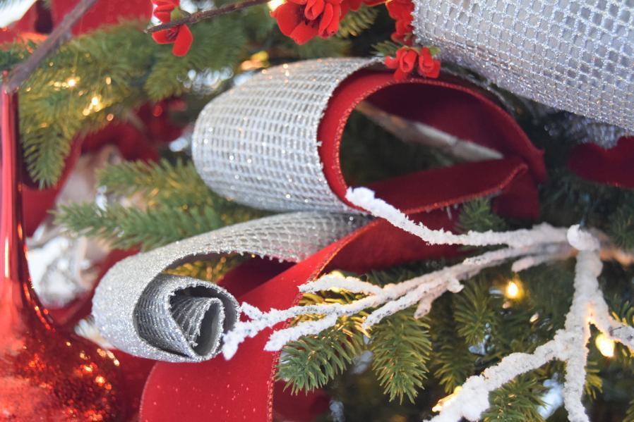 close up of christmas tree ribbon