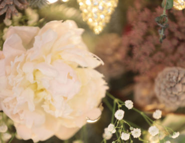 White peony to decorate a summer Christmas tree