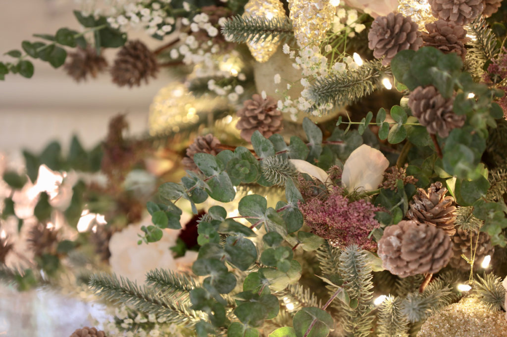 Balsam Hill Winter Pinecone Picks on Christmas tree