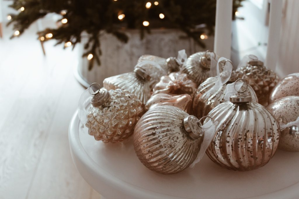 Close up of Balsam Hill Ombre French Country Ornament Set