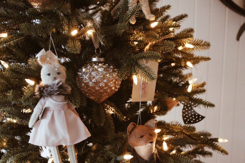 Close up of decorated artificial pre-lit Christmas tree