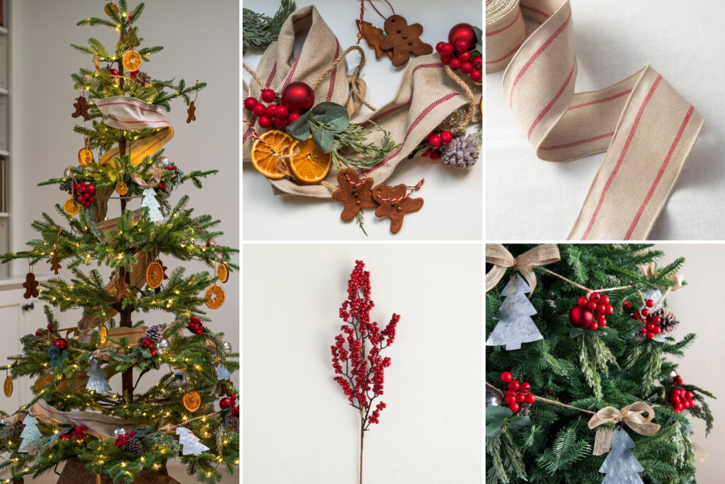 A collage of photos showing a Christmas tree decorated with farmhouse-themed accents and assorted Christmas decorations