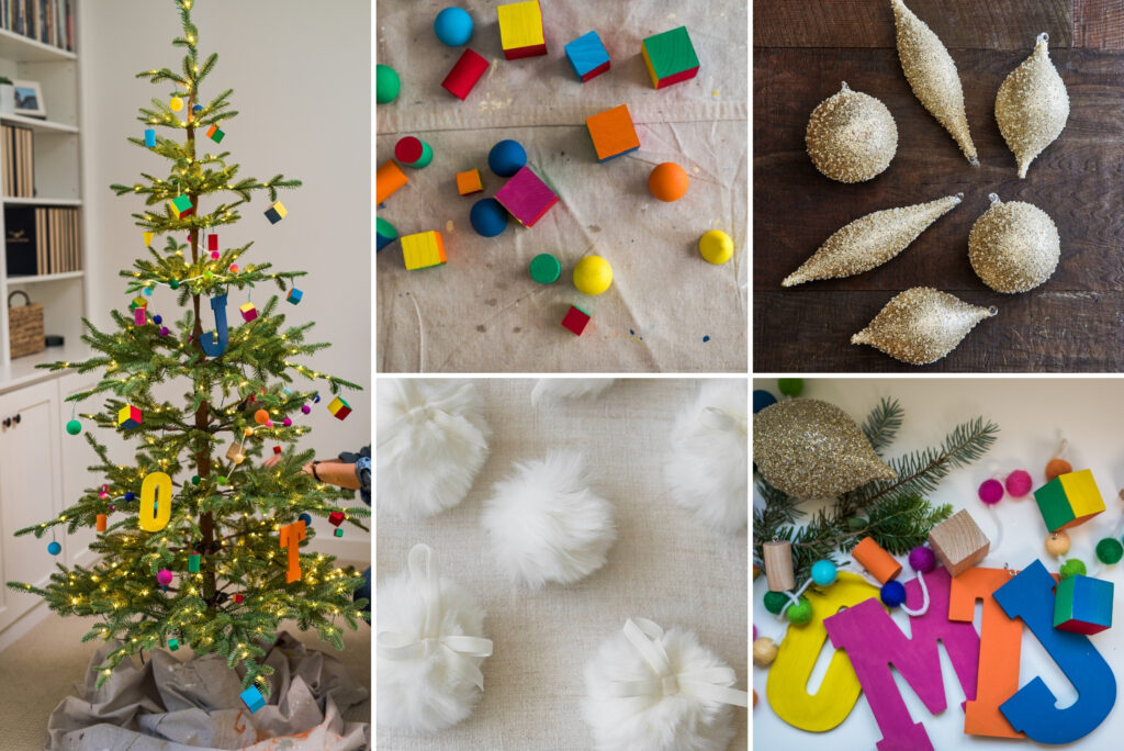 A collage of photos showing a Christmas tree decorated with painted wooden shapes and assorted Christmas decorations