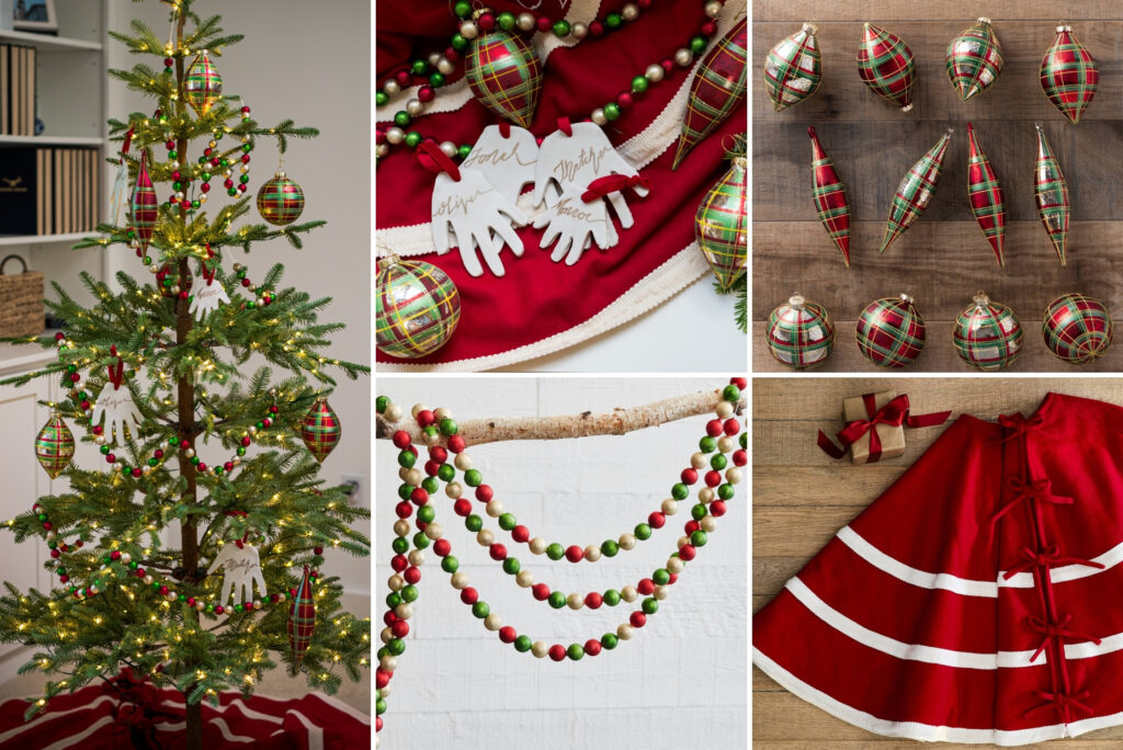 A collage of photos showing a Christmas tree decorated with red and green ornaments and assorted Christmas decorations