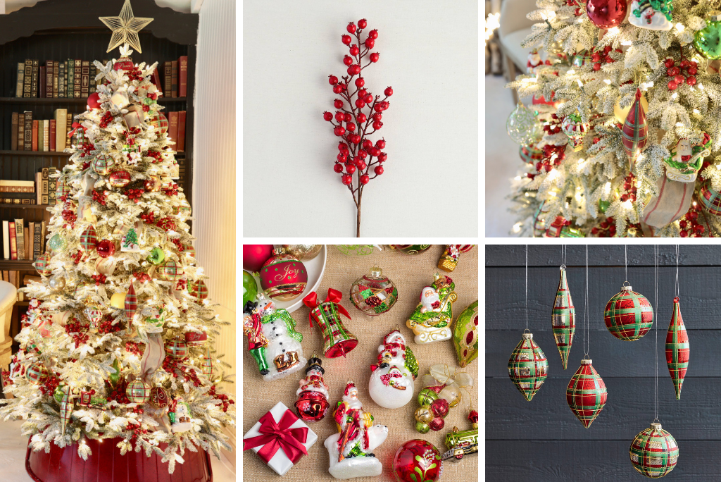 fully decorated christmas tree, red berry tree picks, assorted red and green ornaments