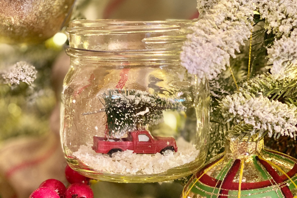 mini christmas tree truck in mason jar ornament