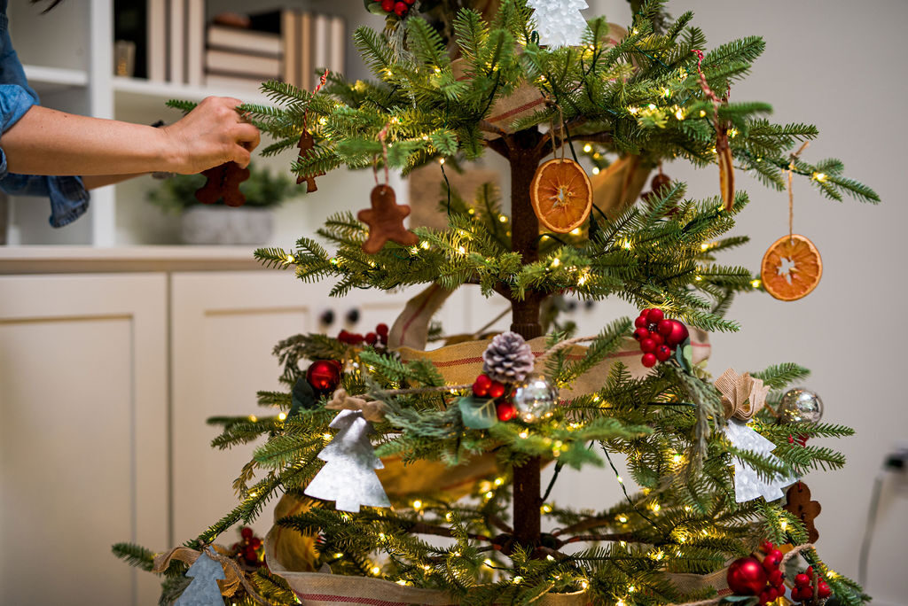 decorating alpine balsam fir with farmhouse themed decorations