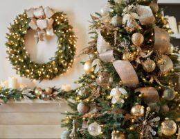 christmas tree and foliage decorated with burnished metals ornament set