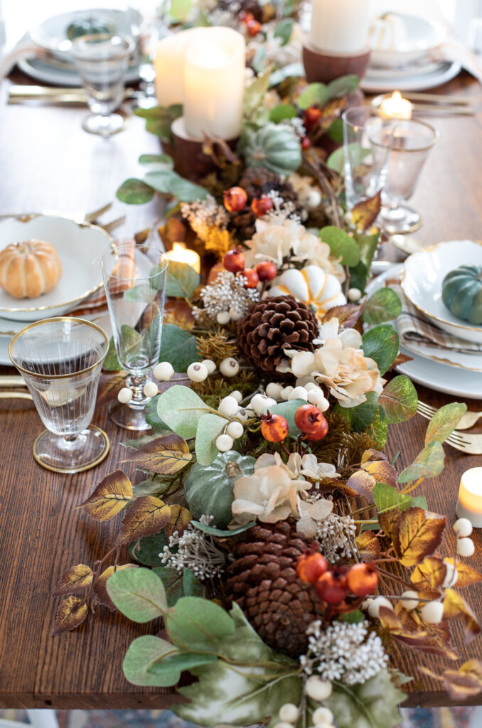 balsam hill briarwood cottage garland thanksgiving centerpiece on wood dining table